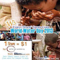 Filtersfast.com donates to Wine to Water on World Water Day 2013
