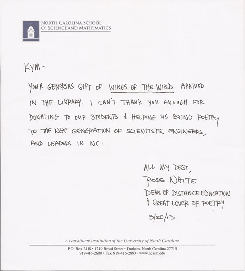Letter from N.C. School of Sciences and Mathematics for Wings of the Wind: A Cornucopia of Poetry