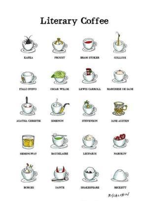 Italian food illustrator Gianluca Biscalchin, Literary Coffee Cups, Literary Coffee