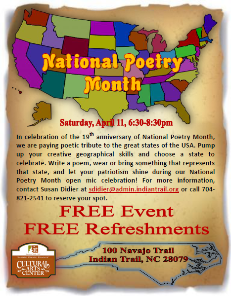 National Poetry Month, Indian Trail Cultural Arts Center, Kym Gordon Moore, Poetry