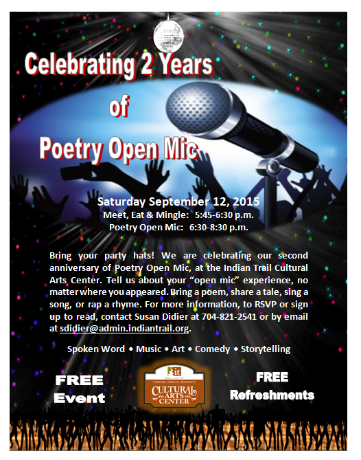 Poetry Open Mic, Kym Gordon Moore, Indian Trail Cultural Arts Center