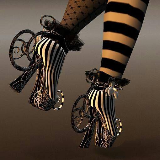 Goth Alice in Wonderland Shoes